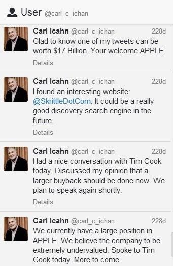 Serie de tuits donde Icahn comenta su conversación con Tim Cook.