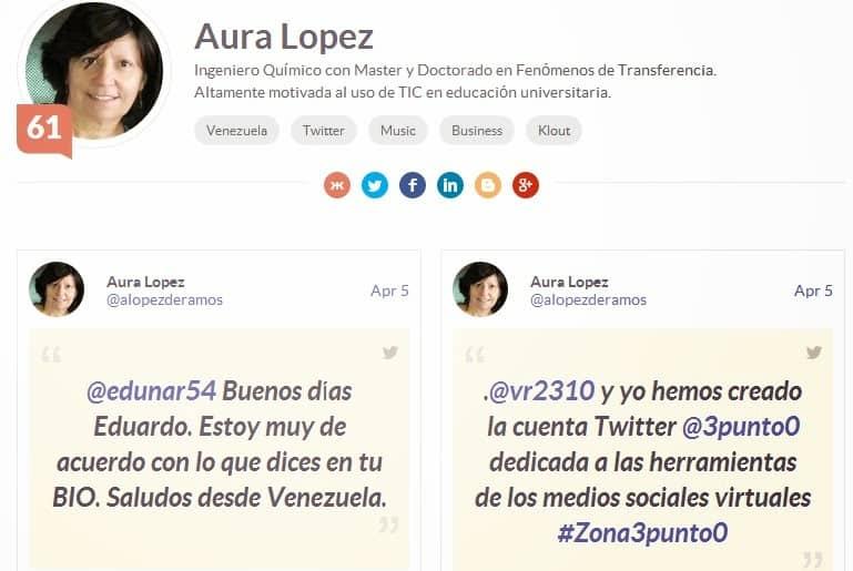 Ejemplo del Klout de @alopezderamos