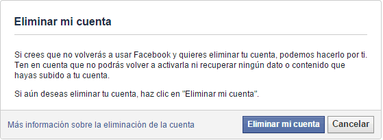Solicitud de eliminación de cuenta a Facebook.