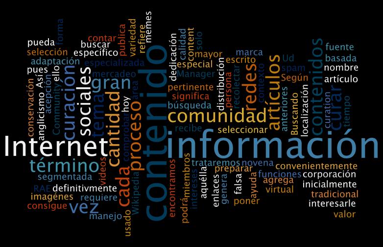 Nube de palabras realizada con wordle.net con el texto de este artículo