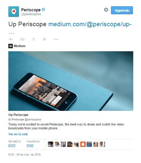 Tweet con el lanzamiento de Periscope.