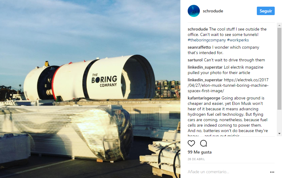 Máquina para hacer túneles tomada de Instagram.